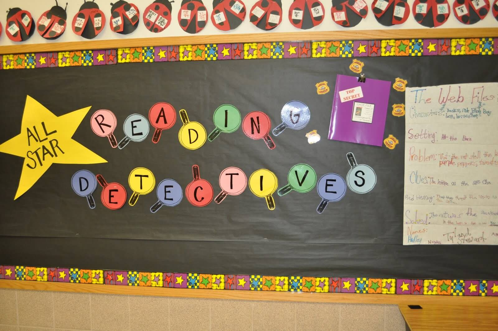 This Bulletin Board Was Up For Our Mystery Unit. Once The Students Had Read  Several Mystery Books, We Added Student Work To The Board, But I Didnu0027t  Snap A ...