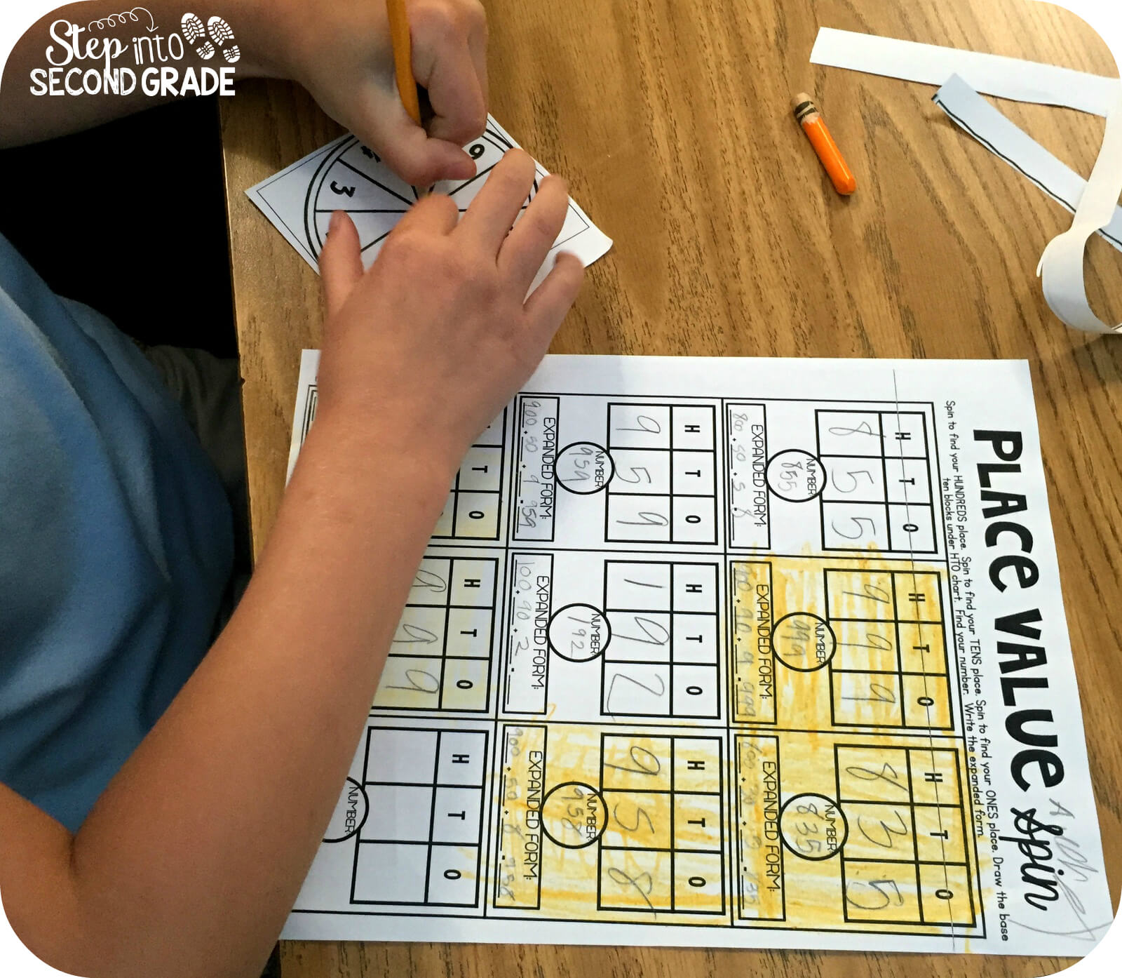 Place value review step into 2nd grade place value spin reviewed hto charts standard form and expanded form it also reviewed greaterless than because the person who spins the highest number falaconquin