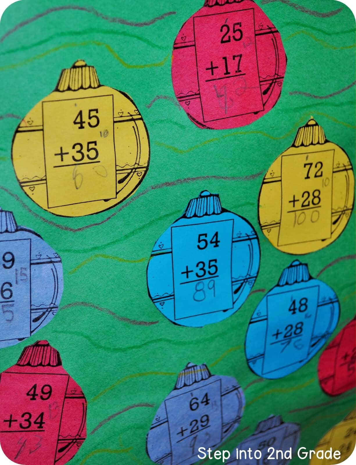 Christmas Tree Math - Step into 2nd Grade