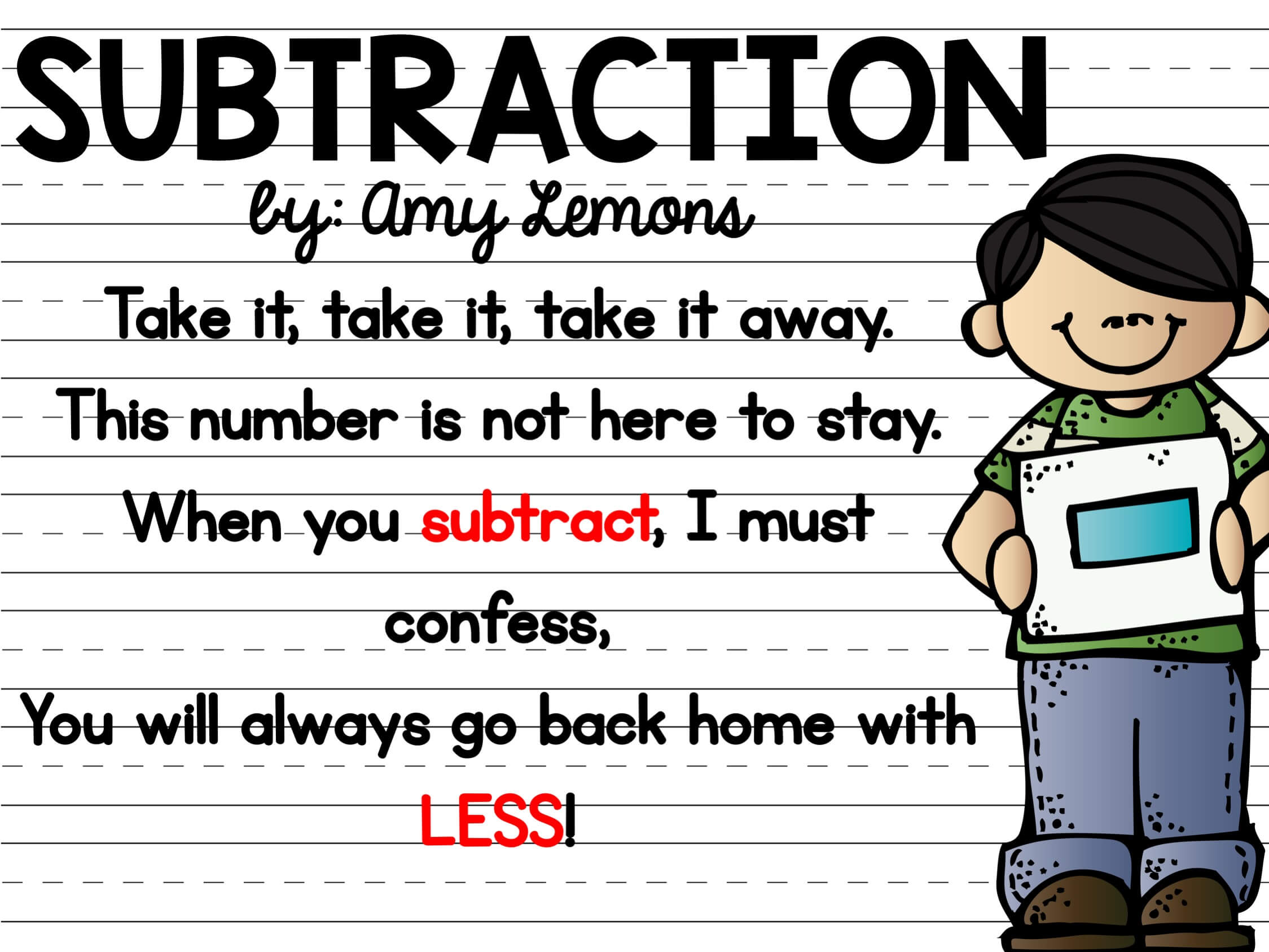 Introducing Subtraction {and a CHANT} - Step into 2nd Grade