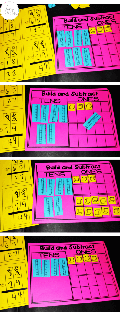 Build numbers to subtract with regrouping